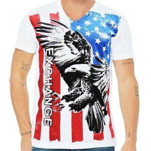 EXCHANGE MEN'S U.S.A WHITE V-NECK T-SHIRT SIZE S L
